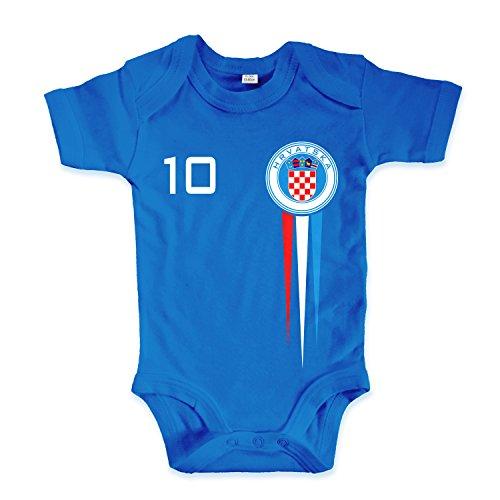 net-shirts Organic Baby Body mit Kroatien Croatia Hrvatska Trikot Aufdruck Fußball Fan WM EM Strampler - Spielernummer wählbar, Größe 00-03 Monate - Spielernummer 10, blau