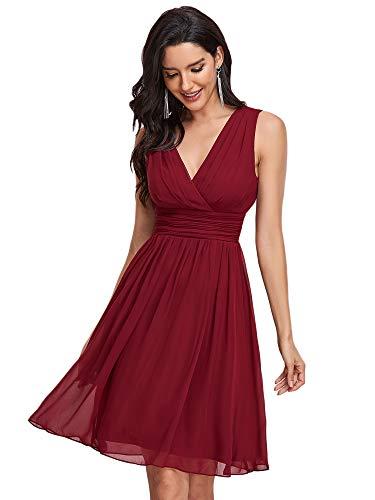 Ever-Pretty Doppelt V-Ausschnitt Rueschen an Taille Kurz Damen Party Kleider Größe 40 Burgundy