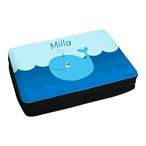 Eurofoto Schul-Mäppchen mit Namen Milla und Motiv mit Blau-Wal für Mädchen | Federmappe mit Vornamen - inkl. Stifte, Lineal, Radierer, Spitzer