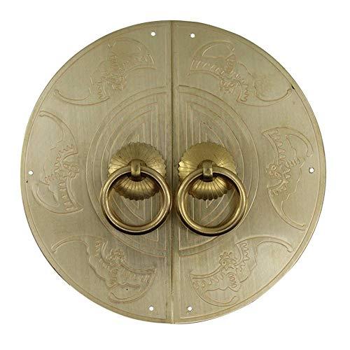 Golpeador de cobre antiguo, cerradura de puerta clásica Tiradores de muebles Tirador de tono plateado perilla placa frontal perilla-LatónULa aguja-20Cm