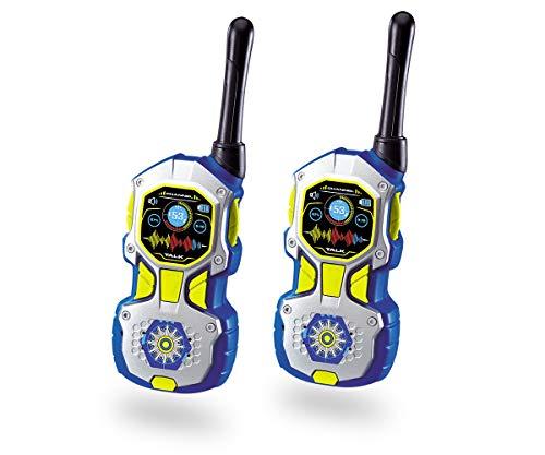 Dickie Toys 201118193 201118193-Walkie Talkie Police - Walkie (2 Unidades, Alcance de 80 m, Antena Flexible, 18 cm), Color Azul y Plateado