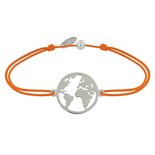 Schmuck Les Poulettes - Armband Link Silber Runde Medaille Weltkarte - Orange