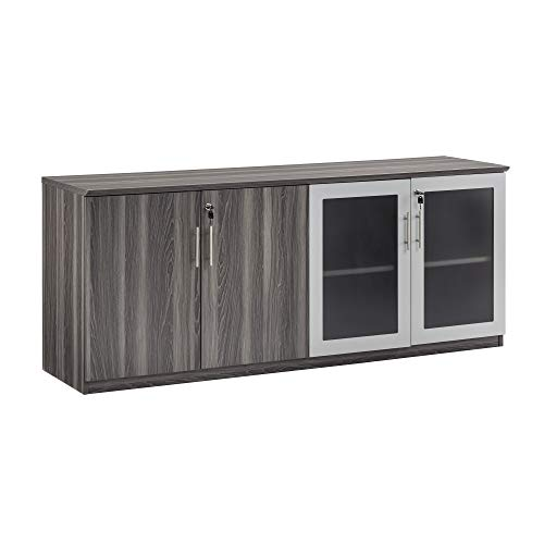 """Safco Products Medina Modern Office Storage Wall Cabinet with Wood and Glass Doors, 72""""W x 20""""D x 29 1/2""""H, Gray Steel"""