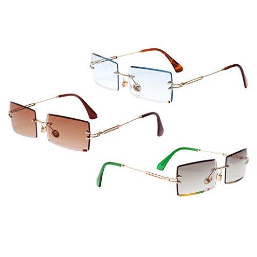 NON Gafas de Sol de Corte Rectangular para Mujer de 3 Piezas, Lentes Teñidas, Protección UV