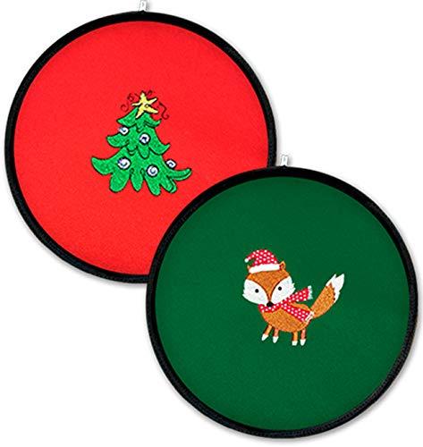 Kit 2 Tortilleros Hipertermicos. Verde y Rojo Navidad bordado con Zorro Navideno y Pino Verde - Tortillas calientes hasta 1 hora