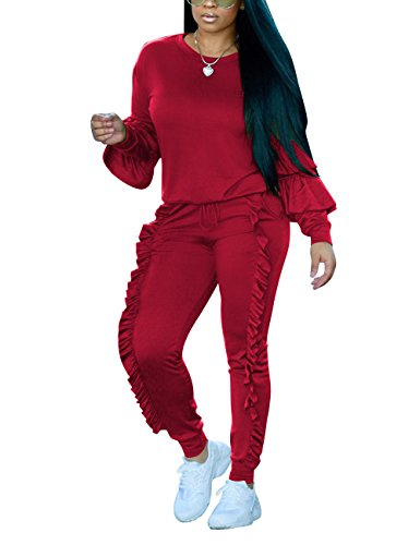 Ruff Long Sleeve Crewneck Sweatshirt Top and Side Ruffle Joggers Pants Sweatsuit Set for Women Red XXL