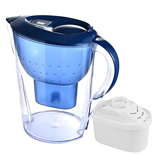 Vansee Water Filter Pitcher, Alkaline Water Filter Pitcher with Filters Included 7 Stage Filteration System (Blue)