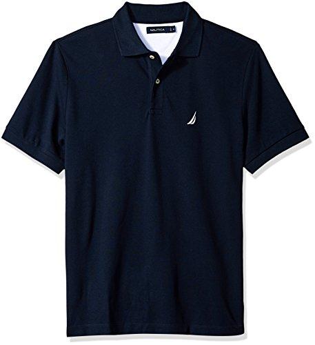Nautica Men's Short Sleeve Cotton Pique Polo Shirt, Navy Solid, Large