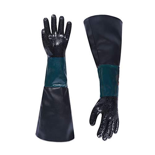 Guantes de chorro de arena de goma con mangas largas, guantes de...