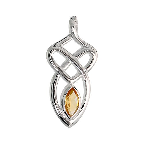 Sterling Silver Genuine Citrine Celtic Motherhood Knot Pendant, 1 1/8 inch Long