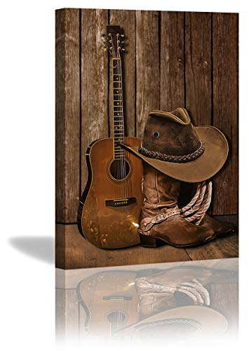 KING DARE American West Cowboy Boots Hat and Guitar Artwork Canvas Prints Framed Picture for Living Room Bathroom Poster Painting Home Decorations 12x16 Inch