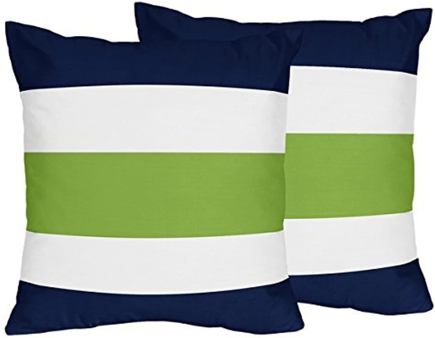 Sweet Jojo Designs 2-Piece Navy bluee, Lime Green and White Decorative Accent Throw Pillows for Stripe Collection