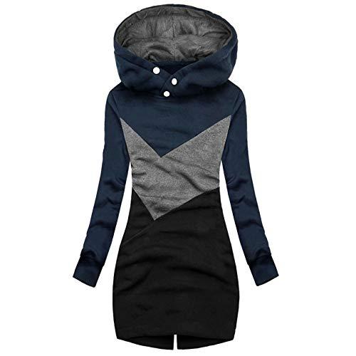 XOXSION Chaqueta con capucha para mujer, para otoño e invierno, cortavientos, fina, larga, de entretiempo, para exteriores, tallas grandes, para exteriores azul marino. S