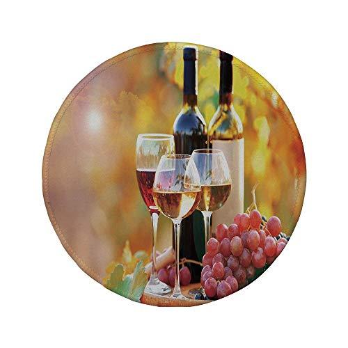 Rutschfreies Gummi-Rundmaus-Pad Wein leckerer Wein auf Holzfass auf Traubenplantage Landschaft Ernte Ländliches Wachstum Dekorativ Orange Rot Schwarz 7,87 'x 7,87' x 3 mm