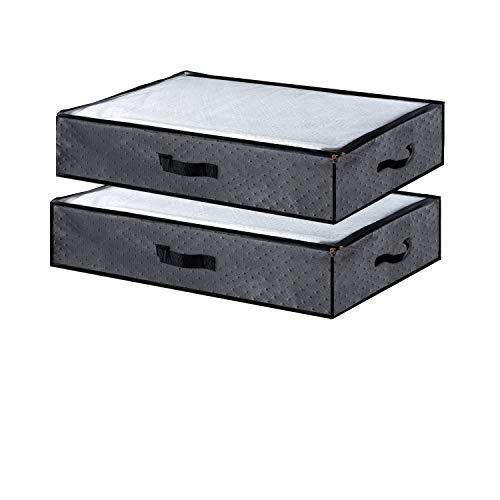 Awnic Unterbett Aufbewahrungstasche Kleider Aufbewahrungsbox mit Deckel Aufbewahrung für bettdecken Kleidung Aufbewahrungstasche für Bettwäsche Unterbettkommode Stoff 100X50X18CM Grau
