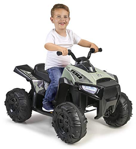 FEBER- Quad Boxer, Vehículo eléctrico a batería, 12 V, Verde (Famosa 800012541)