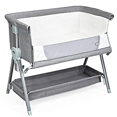 INFANS Baby Bedside Crib, Newborn Sleeper w/Large Storage Basket, Adjustable Height & Angle, Detachable &Washable Mattress, Breathable Mesh, Straps, Easy Moving Bed Side Bassinet for Infant, Grey