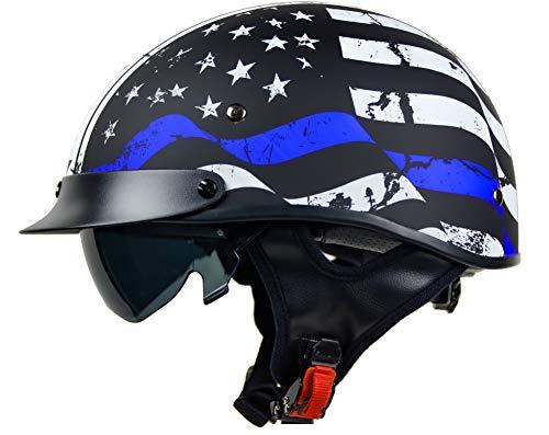 Vega Helmets 7850-024 Unisex-Adult Half Size Motorcycle Helmet (Back the Blue, Large)