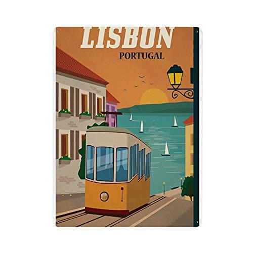 Blechposter, Lissabon Portugal, Vintage, 1 Blechschild, Vintage, Metall, für Kneipen, Clubs, Cafés, Bars, Zuhause, Wanddekoration, Poster, Retro, 40 x 30 cm