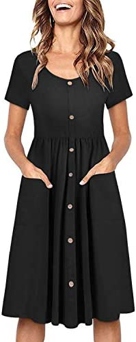 OUGES Women s Long Sleeve V Neck Button Down Midi Skater Dress with Pockets Black395 M product image