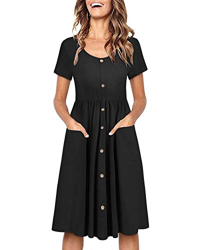 OUGES Women's Long Sleeve V Neck Button Down Midi Skater Dress with Pockets(Black395,M)