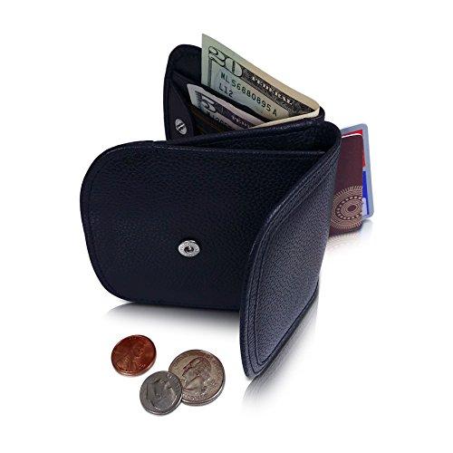 TAXI WALLET (Schwarz) Echtleder Damen Herren Portemonnaie für Münzen kleine Handtasch, Hosentasche Prime mit Geschenkverpackung