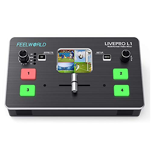 FeelWorld LIVEPRO L1 Mixer Video Multiformato Switcher 4 Ingressi HDMI Produzione Multi-Camera Streaming Live USB3.0