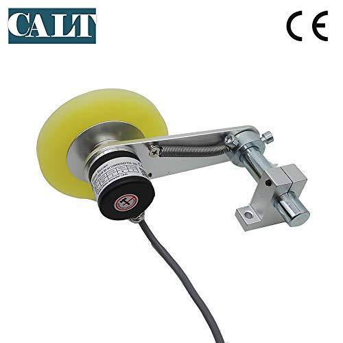 CALT GHW38 Roller Rubber Wheel Length Position Meter Measuring Pulse Rotary Encoder Steel Mounting Spring Bracket for Lift Rail (500PPR300mm)