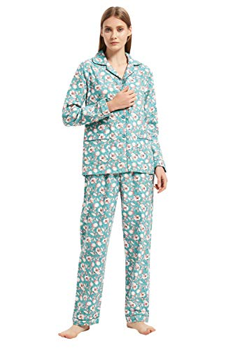GLOBAL Comfy Pajamas for Women 2-Piece Warm and Cozy Flannel Pj Set of Loungewear Button Front Top Pants M
