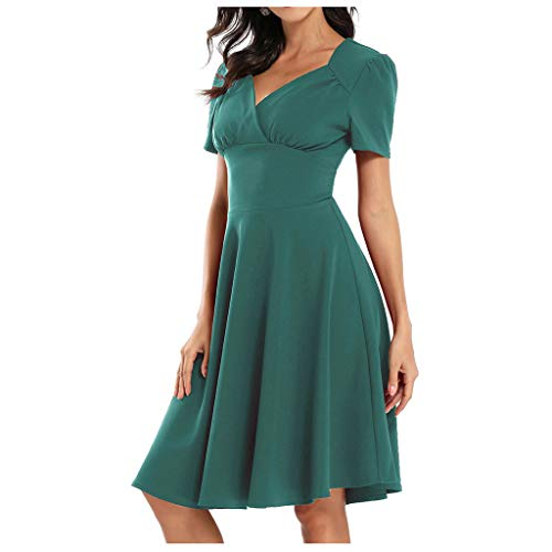 Find Bargain Witspace Women's Fashion Vintage Fashion Style Waistband Sexy V-Neck Dress