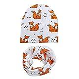 AOXQ Cap Baumwolle Baby Mütze Schal Set Liebe Druck Winter Und Frühling Kinder Mütze Schal Jungen Und Mädchen Strickmützen-White_Fox
