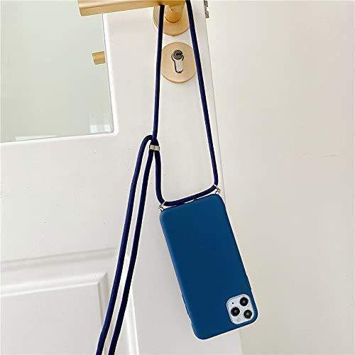 JOEDOT Crossbody Necklace Strap Lanyard Cord Silicone Phone case for iPhone 12 Mini 12 Pro Max 11 Pro Max X XR XS Max 6S 7 8 Plus Cover (1-navry Blue, for iPhone 6 6s)