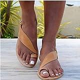 YURU Sandalias Planas Correa para El Tobillo para Mujer Sandalias Romanas De Cuero Sintético para Mujer Alpargatas De Vacaciones En La Playa De Verano Zapatos,Yellow-EU37
