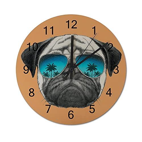 Reloj de Pared Vintage,Perro Pug con Reflectantes AVI,Relojes de Pared de Madera silenciosos Que no Hacen tictac,Reloj de Pared rústico de Granja para la decoración del Dormitorio de la Sala de Estar