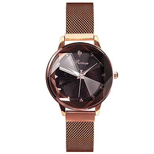 RORIOS Mujer Relojes de Pulsera Brillante Cielo Estrellado Dial Mesh Banda de Acero Inoxidable Vestir Relojes para Mujer Women Watches