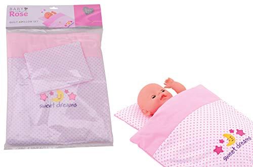 JohnToy 27537 Baby Rose Puppen Decke und Kissen-Set, Rosa
