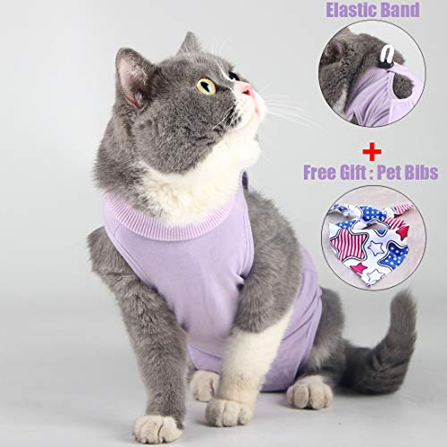 Cat Surgery Recovery Kit Bauchwunde oder Hautkrankheit, E-Collar Ersatz, postoperative Kleidung, professionelle Heimtierbekleidung (M, Lila)