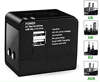Travel Adapter, International Power Plug Converter,Worldwide All in One Universal 2.1A Travel Plug with Dual USB Charging Ports for USA EU UK AUS
