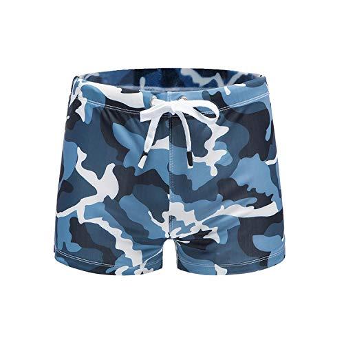 Swimwear Herren Bademode Badehose Sexy Gay Bikini Beach Wear Push Pad Boxer Badehose Boardshorts Gr. 56, blau