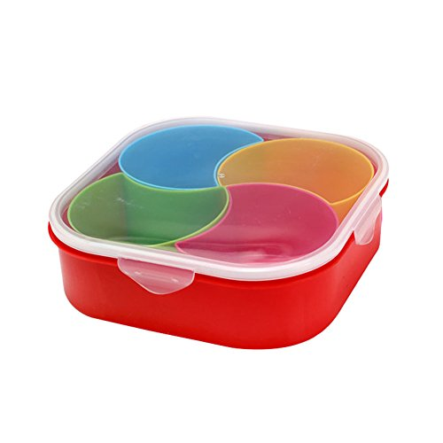 Jacqu Portable Fruit Storage Box Plastic 4 Lattices Dry...