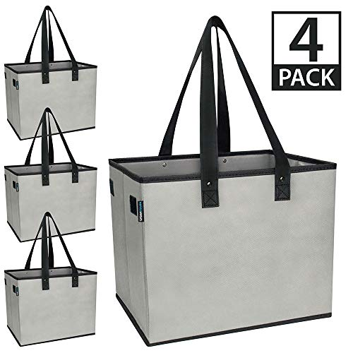 """Urban House AUH-SB4GY Large Collapsible Grocery Shopping Tote Box with Reinforced Bottom, 14""""L x 11""""W x 11""""H (Pack of 4), Grey with Black Trim"""