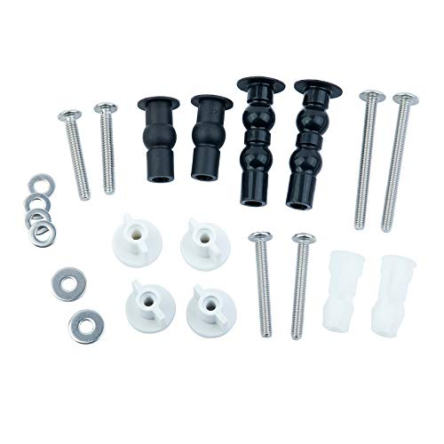 Jwodo Universal Toilet Seats Screws and Bolts Metal Combo, Includes Toilet Seat Hinges Bolt Screws, Toilet Seat Fixings Expanding Rubber, Top Nuts Screws, 5 Kinds of Toilet Seat Mount Hardware Parts