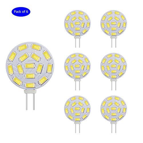 EKSAVE G4 3.5W LED Glühbirnen, Äquivalent zu 25-35W Halogenlampen, G4 Base AC/DC 12V, 350 LM, 120 ° Flutlichtstrahl, Einbauleuchten, Track Beleuchtung, Weiß (6000K, 6pcs)