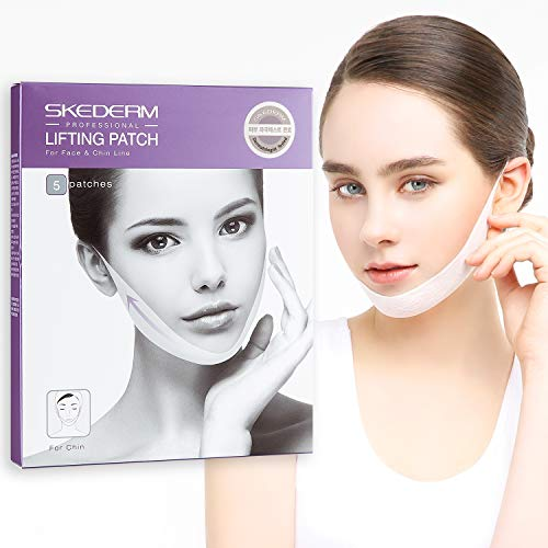 SKEDERM Lifting Band Patch for Face and Chin Line, Double Chin Reducer, Chin Up, V Shaped Slimming Face Mask, Pack of 5