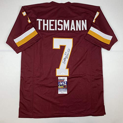 Autographed/Signed Joe Theismann 83 MVP Washington Burgundy Football Jersey JSA COA