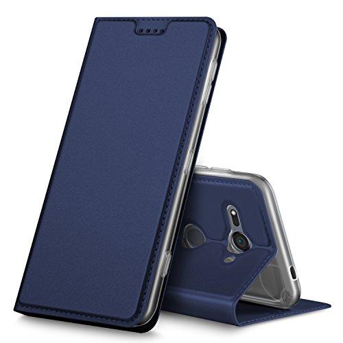 Xperia XZ2 Compact ケース 手帳型 KuGi Xperia XZ2 Compact カバー Xperia XZ2 Compact Dual H8324 スタンド機能付き 手帳型ケース 横開き 耐衝撃 PUレザー カバー スマートフォンケース Xperia XZ2 Compact 携帯全面保護カバー 本体の傷つきガード ネイビー