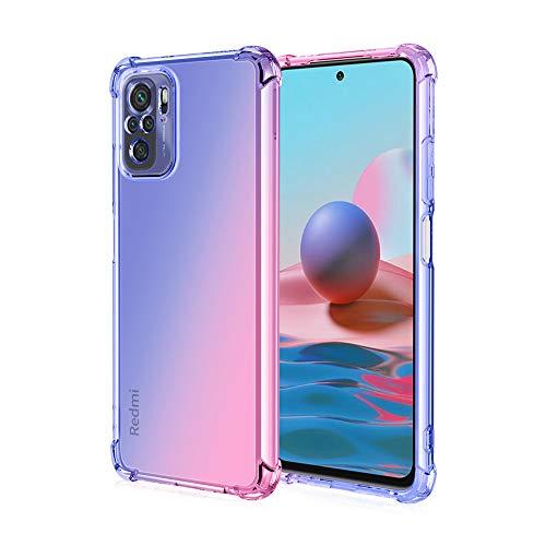 GOGME para Xiaomi Poco M3 Pro 5G   Redmi Note 10 5G Funda, Cubierta Delgado de Silicona Funda Protective Case Cover, Carcasa Fibra TPU [Diseño Durable] [Máxima Protección contra Golpes] - (Azul/Pink)