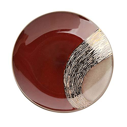 MJHSP Japanese Style Pasta Dish Steak Plate Fruit Plate Breakfast Plate Dessert Plate Snack Plate Ceramic red Round Home (Size : 27.3X2.8CM)