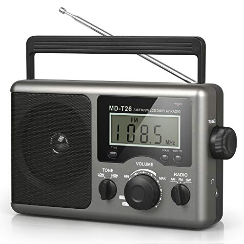 Greadio Portable Shortwave RadioAM FM Transistor Radio with Best ReceptionLCD DisplayTime SettingBattery Operated by 4 D Cell Batteries or AC PowerBig SpeakerEarphone Jack for GiftElderHome