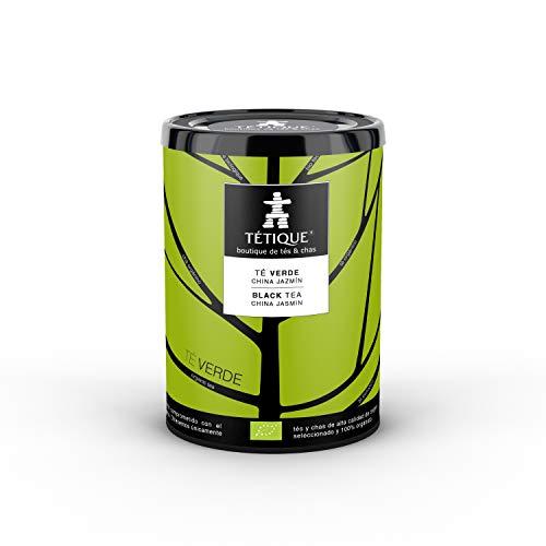 TÉTIQUE Te Verde Jazmin organico con certificado BIO, 17 bolsitas de tes biodegradables